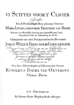 Popma 6 Suites printed in ca 1710 by Estienne Roger in Amsterdam