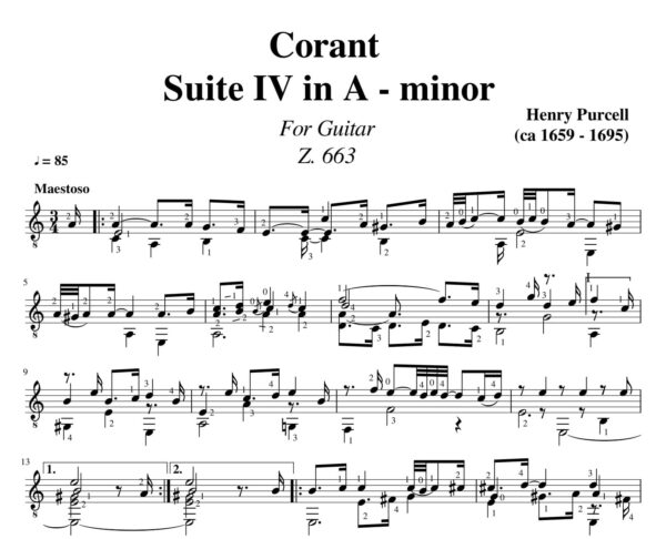 Purcell Corant Suite IV in A - minor Z.663 for guitar