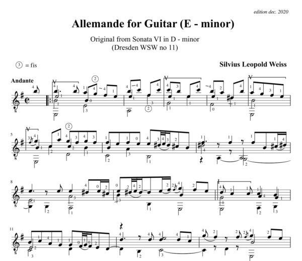 Weiss Sonata WSW 11 Allemande