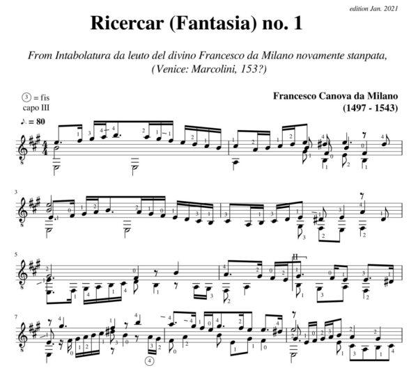 Da Milano Ricercar (Fantasia) no 1