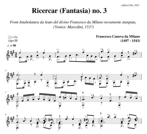 Da Milano Ricercar (Fantasia) no 3