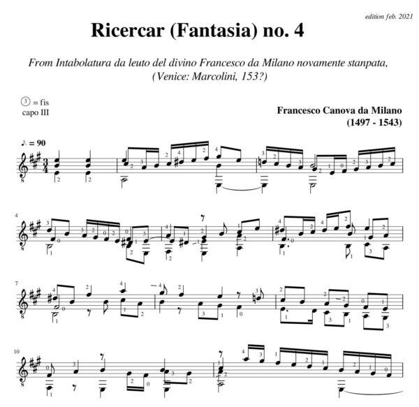 Da Milano Ricercar (Fantasia) no 4