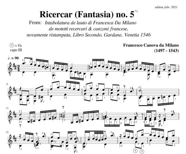 Da Milano Ricercar (Fantasia) no 5