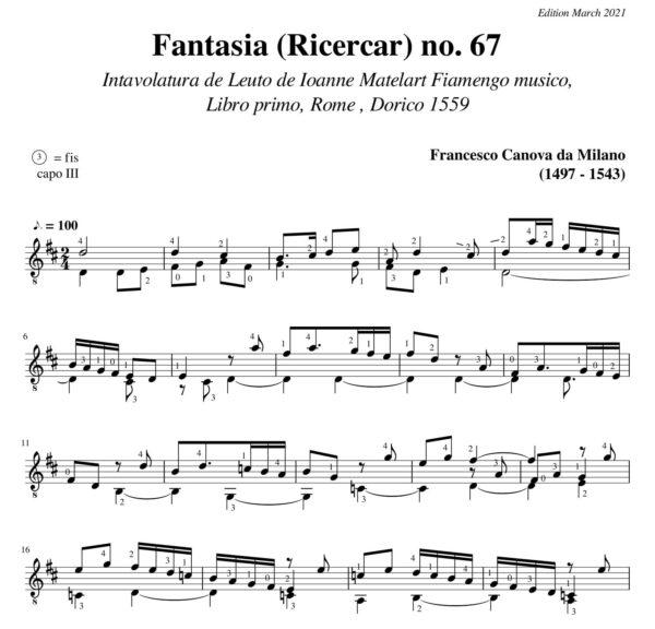 Da Milano Fantasia Ricercar no 67