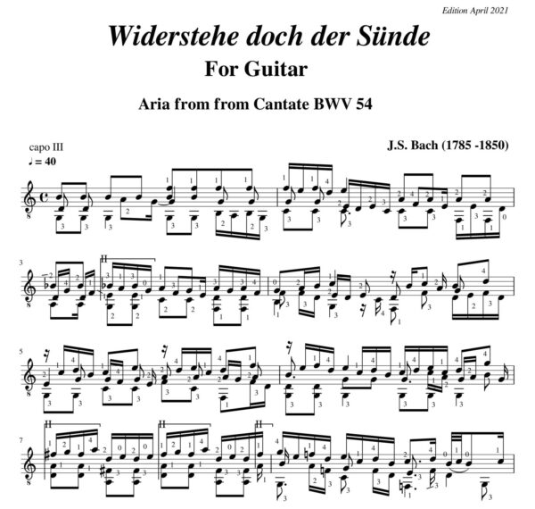 Bach Aria BWV 54 W.D. der Sunde
