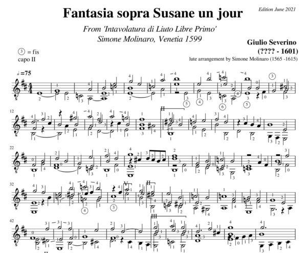 Giulio Severino Fantasia sopra Susane un jour intavolatura Molinaro