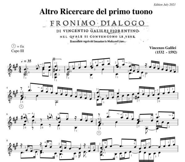 Vincenzo Galilei Ricercare Altro del primo tuono