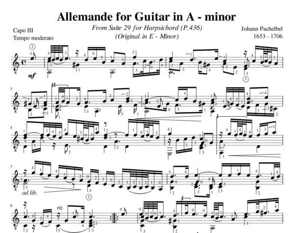 Pachelbel Allemande Suite 29 A minor P. 436