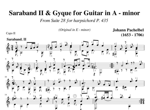 Pachelbel Saraband II & Gyque Suite 28 in A minor P 435